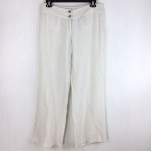Michael Kors Womens Pants Linen Solid White